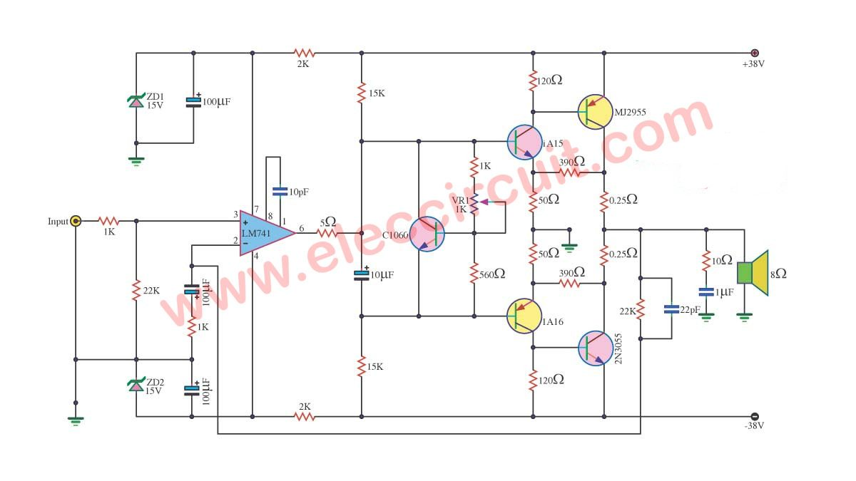 hight resolution of power amplifier ocl 70 watts using ic 741 2n3055