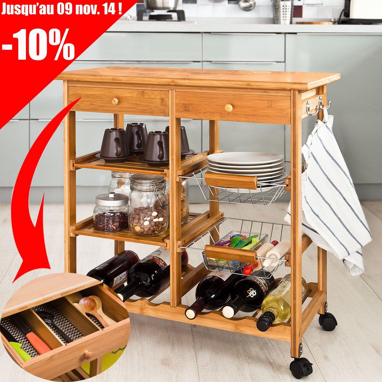 Sobuy fkw06 n desserte roulettes en bambou meuble for Desserte rangement cuisine
