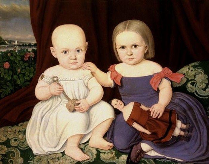 Lambert Sachs(1818-1903) –– The Herbert Children, 1857: National Gallery of Art, Washington D.C., USA (700x548)