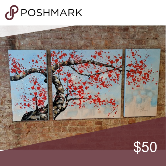 3 Panel Canvas Wall Arr Cherry Blossom Tree Canvas Painting Dimensions 2 Side Panels 30 H X 15 Cherry Blossom Painting Tree Painting Canvas Tree Canvas