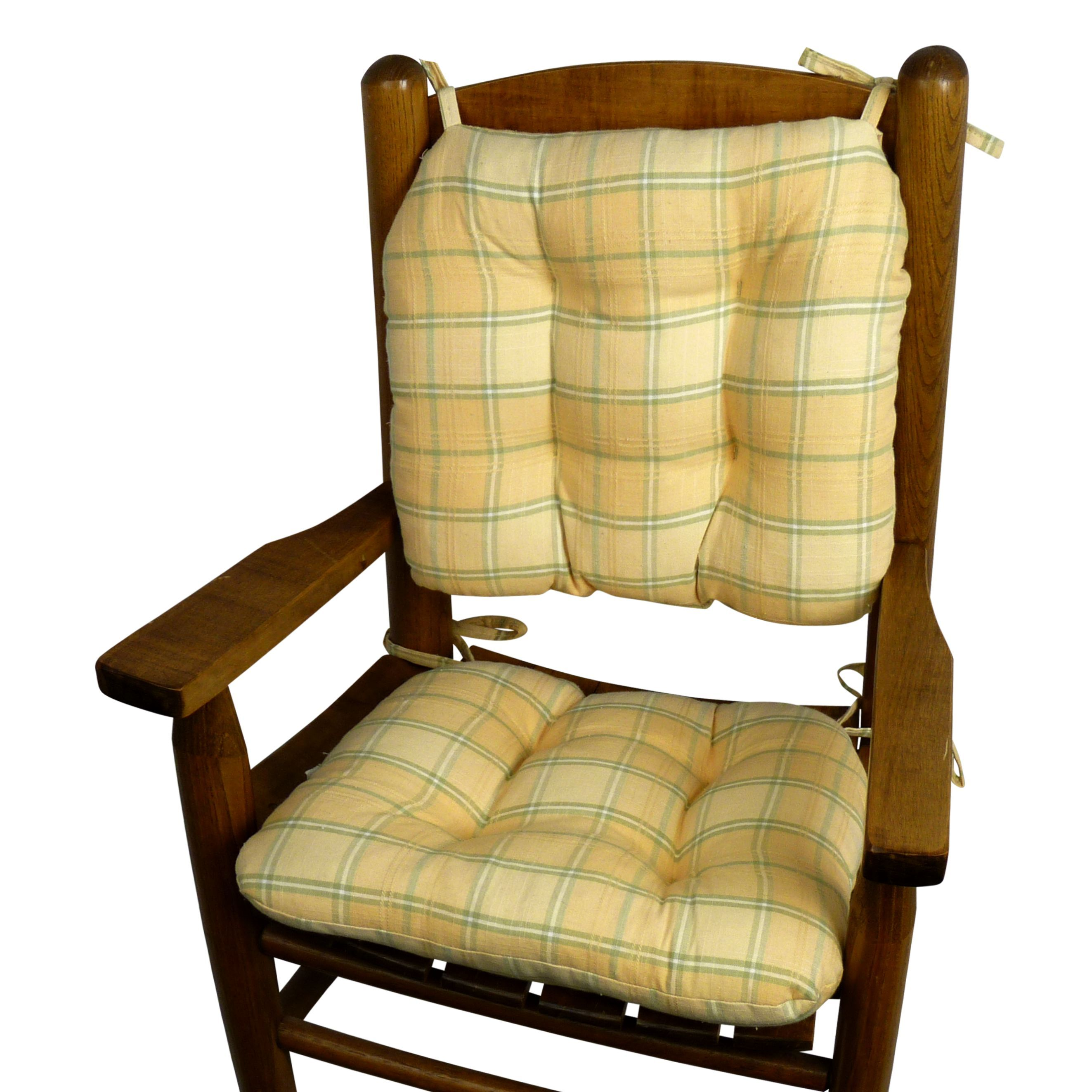 Child Rocking Chair Cushions   Morning Dew Yellow Plaid   Machine Washable