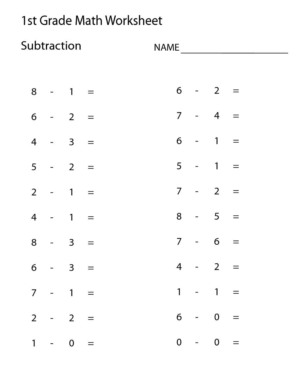 Printable Math Worksheets For First Graders In