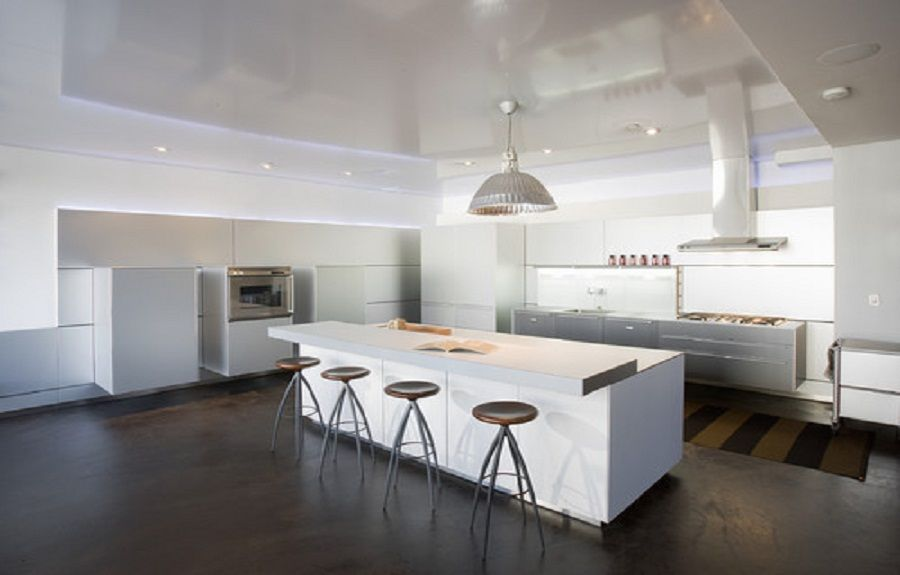 painted concrete floor designs in modern kitchen ~ http