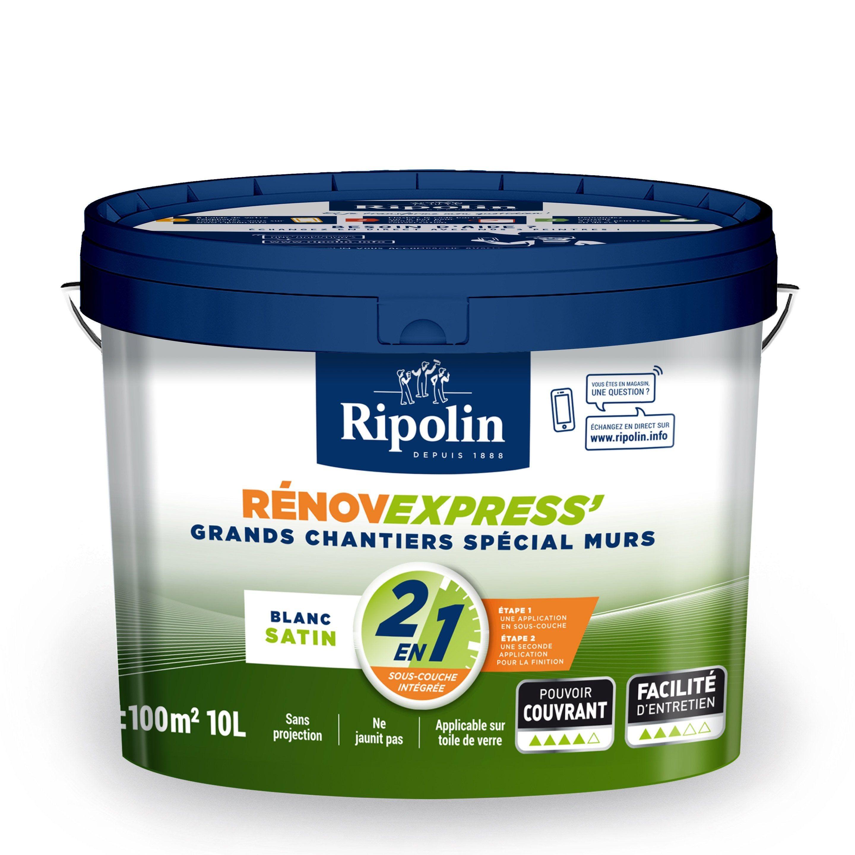 Peinture Ripolin Mur Plafond Et Boiserie Renov Express Blanc Satine 10 L Peinture Ripolin Plafond Et Peinture Blanche