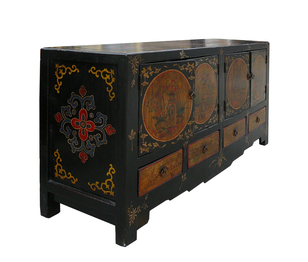 Low Cabinet With Oriental Accent | Chairish