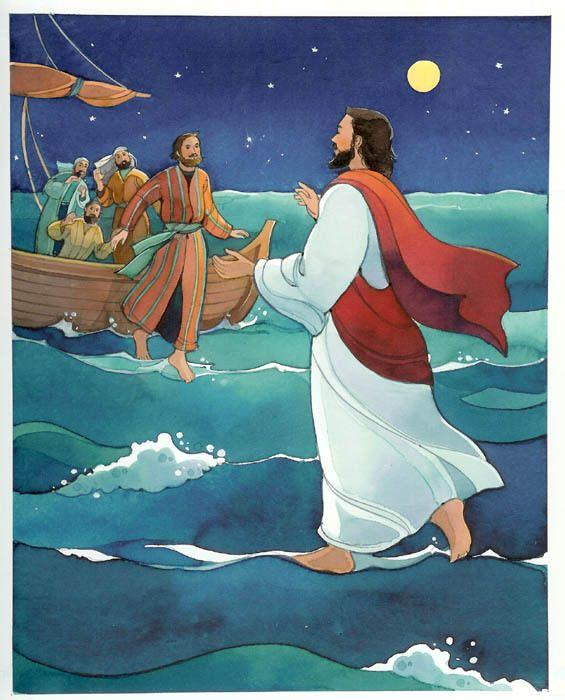 Jesus Walking On Water And Helping Peter In The Storm Coloring