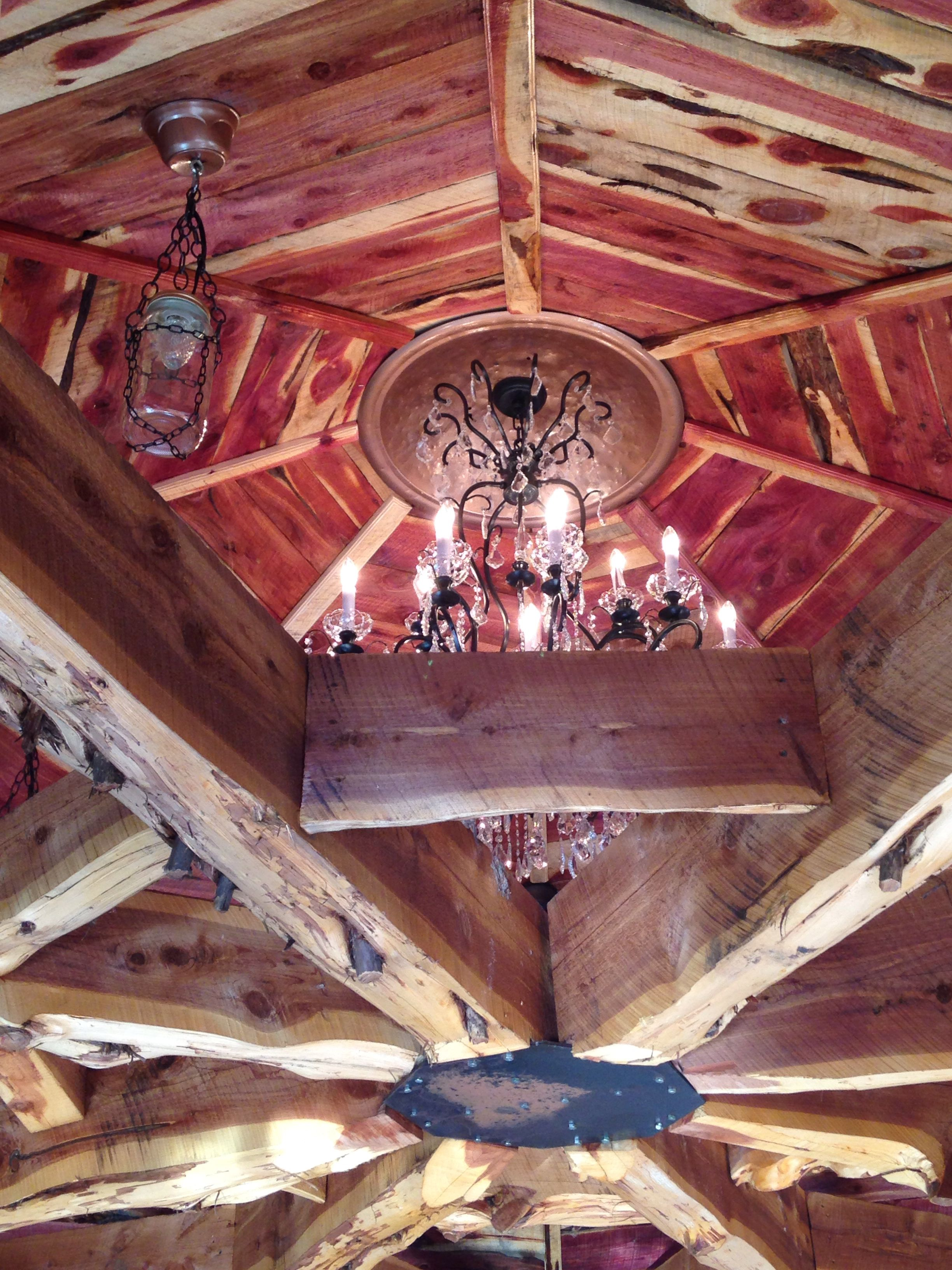 Cedar ceiling above our enclosed deck.