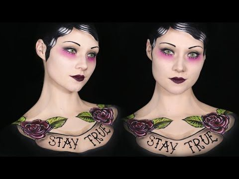 Old School Tattoo Makeup/Body Paint Tutorial - YouTube