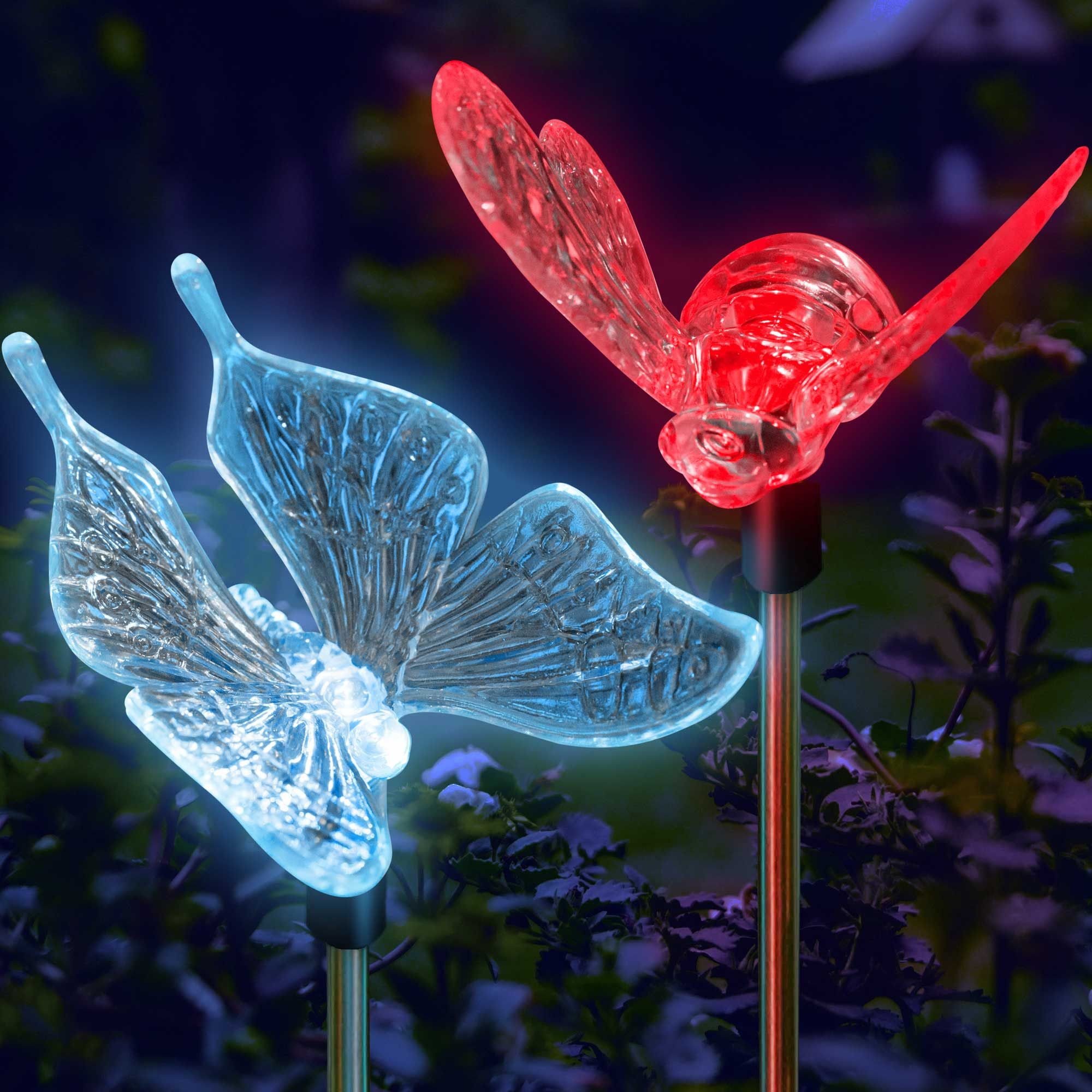 Garden Solar Lights Color Changing Butterfly U0026 Bumble Bee Stake Lights    Beautiful Garden Lights To
