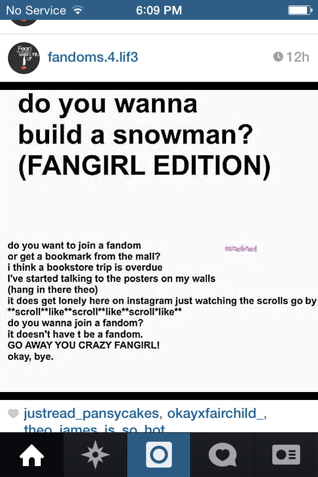 Fangirl version of Do you wanna build a snowman-frozen  LOVE