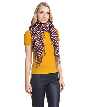 Tory Burch Plum T-Zag Wool Scarf $175.00  $89.90
