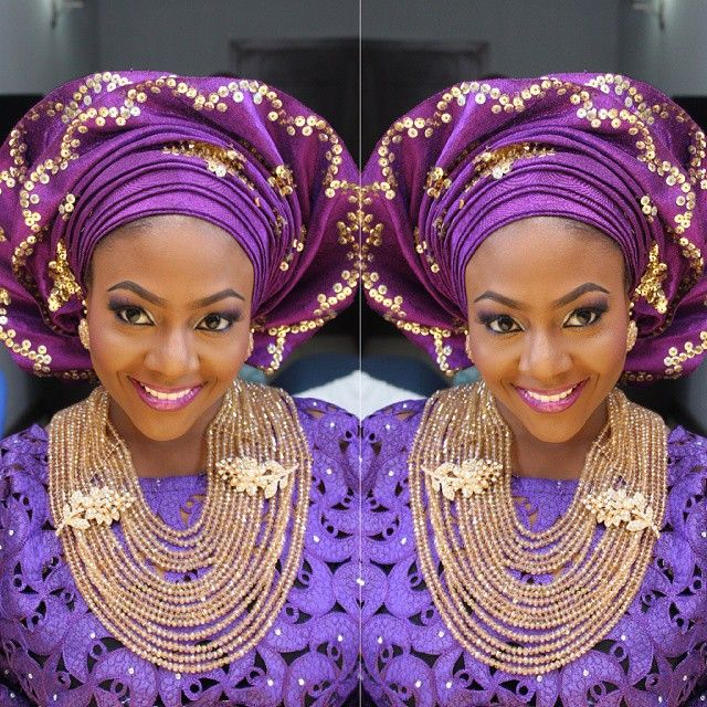 Source: prospottedmakeover's Purple and gold Nigerian traditional wedding. gold sequin gele and gold necklace.