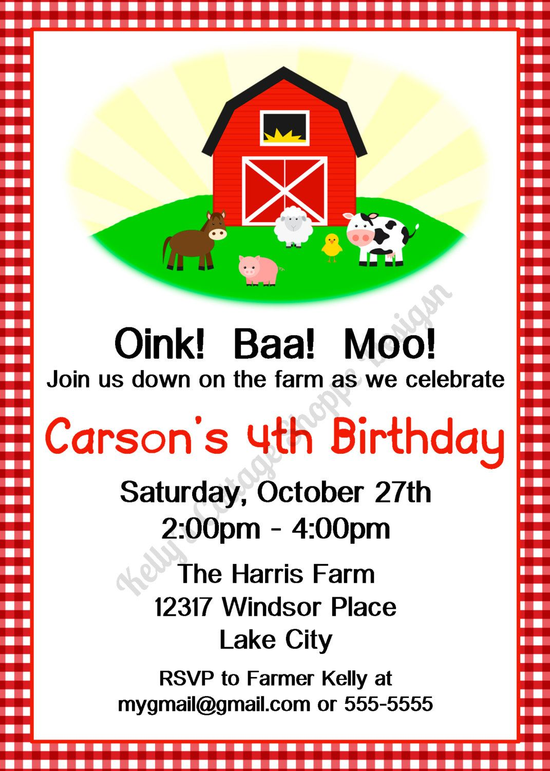 Barnyard/Farm Animal Birthday Party Invitation with Red Barn$9.50 ...
