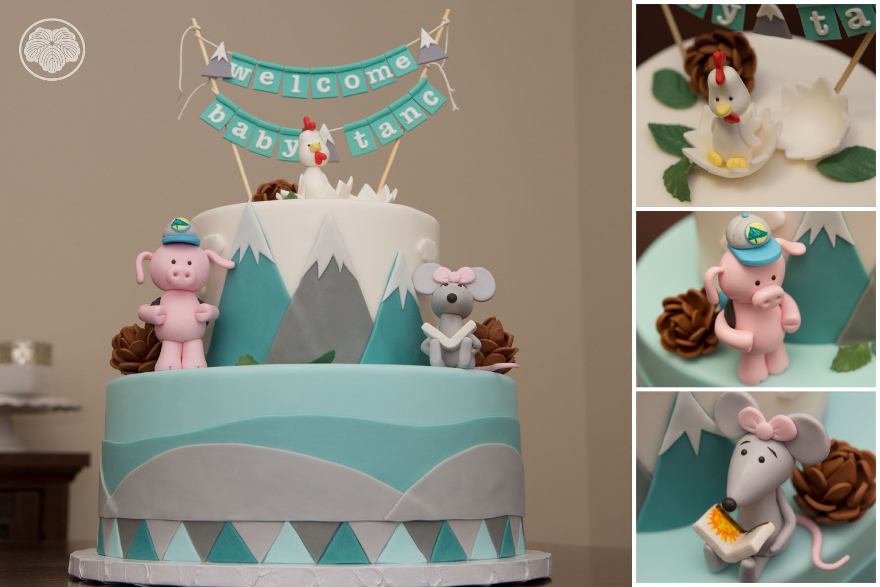 Mountain climbing baby shower with pig, rat and rooster cake