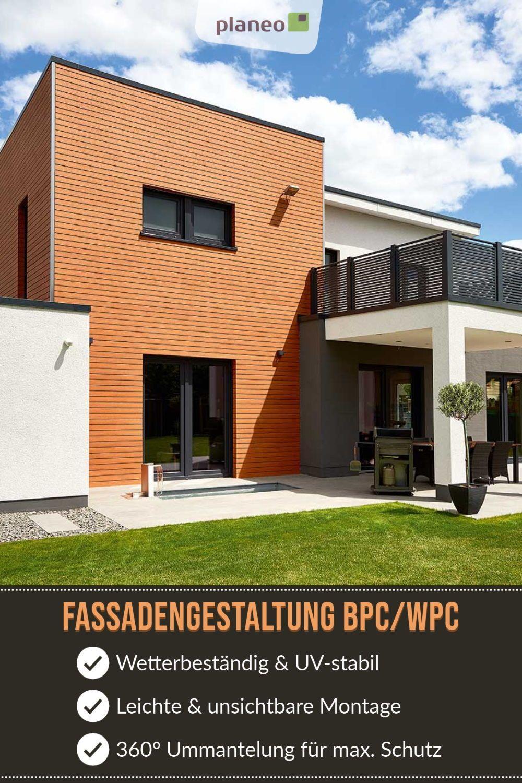 Fassadengestaltung Aus Hochertigem Wpc Bpc In Steinoptik Holzoptik In 2020 Fassadenverkleidung Fassadengestaltung Fassaden Gestaltung