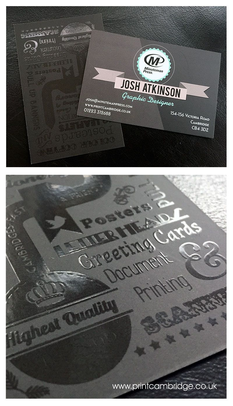 Spot Uv On Black Business Card Graphic Designer Business Card For Josh Atkinson Minutem Graphic Design Business Card Black Business Card Business Card Design