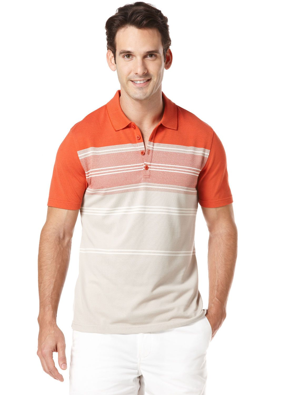 Perry Ellis coral stripe knit polo  0b219985d