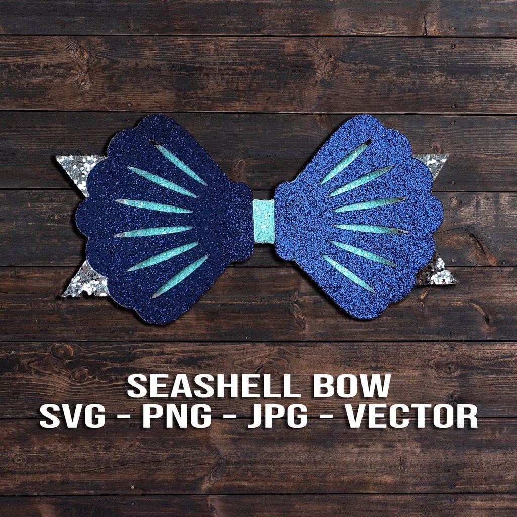 Beach Seashells Hair Bow Svg Hair Clip Template Svg Png Dxf Jpeg Pdf In 2020 Bows Diy Bow Bow Template