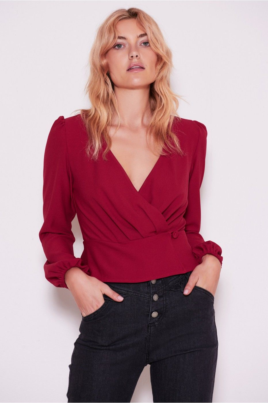 358cf3c282a CHEMISTRY LONG SLEEVE WRAP TOP berry
