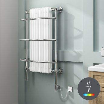 1000x635mm Thermostatic Electric Chrome Traditional Wall Mounted Rail Radiator Victoria Premium Towel Rail Electric Towel Rail Bathroom