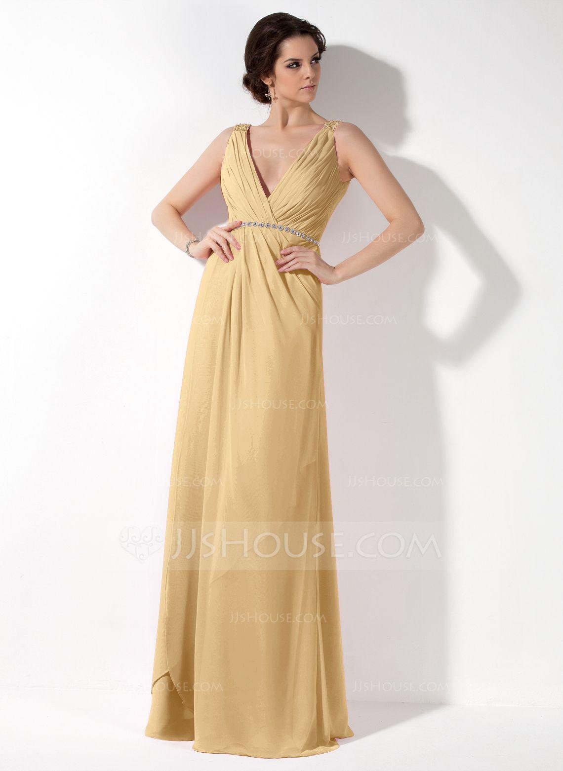 Alineprincess vneck floorlength chiffon bridesmaid dress with