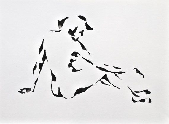 Original Nude Ink art drawing on paper. Body, Ink dark, back, black and white, modern nude drawing, contemporany, linear