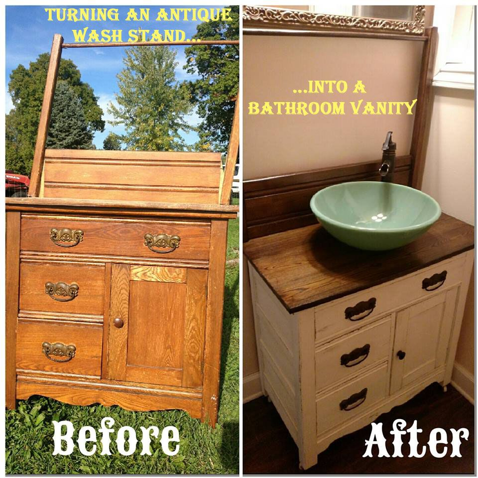 Vanities For Half Bath diy: turning an antique wash stand into a bathroom vanity | wash