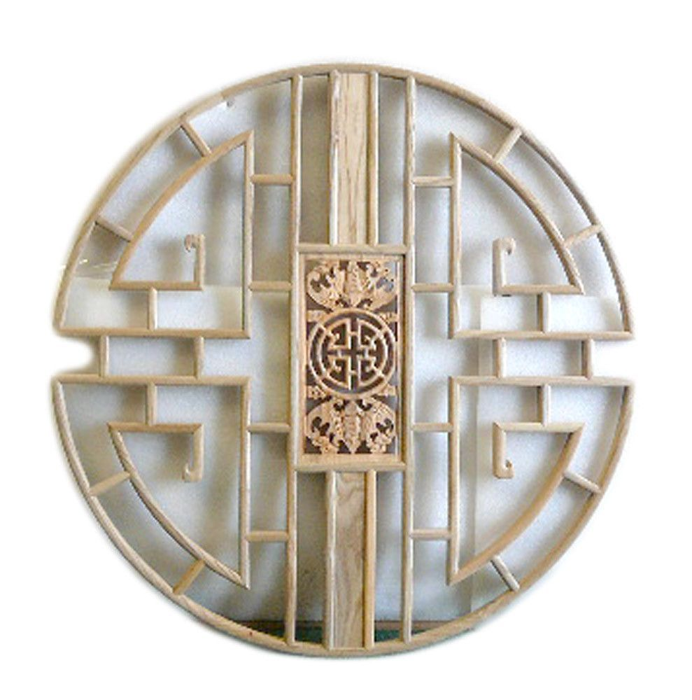 This Is A Round Wooden Wall Decor With Chinese Double Bats Theme Surrounded By Simple Geometric Pattern Dimensions Dia 31 5 Origin China Material Wood