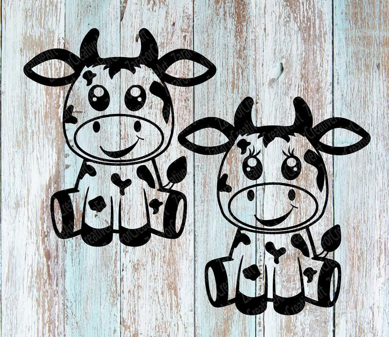 Cute cow Zentangle svg dxf eps Digital download baby cow