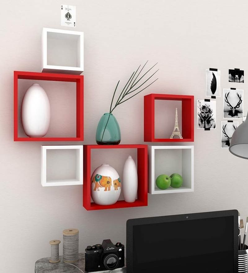 DecorNation Wall Shelf Set Of 6 Nesting Square Red White By Online