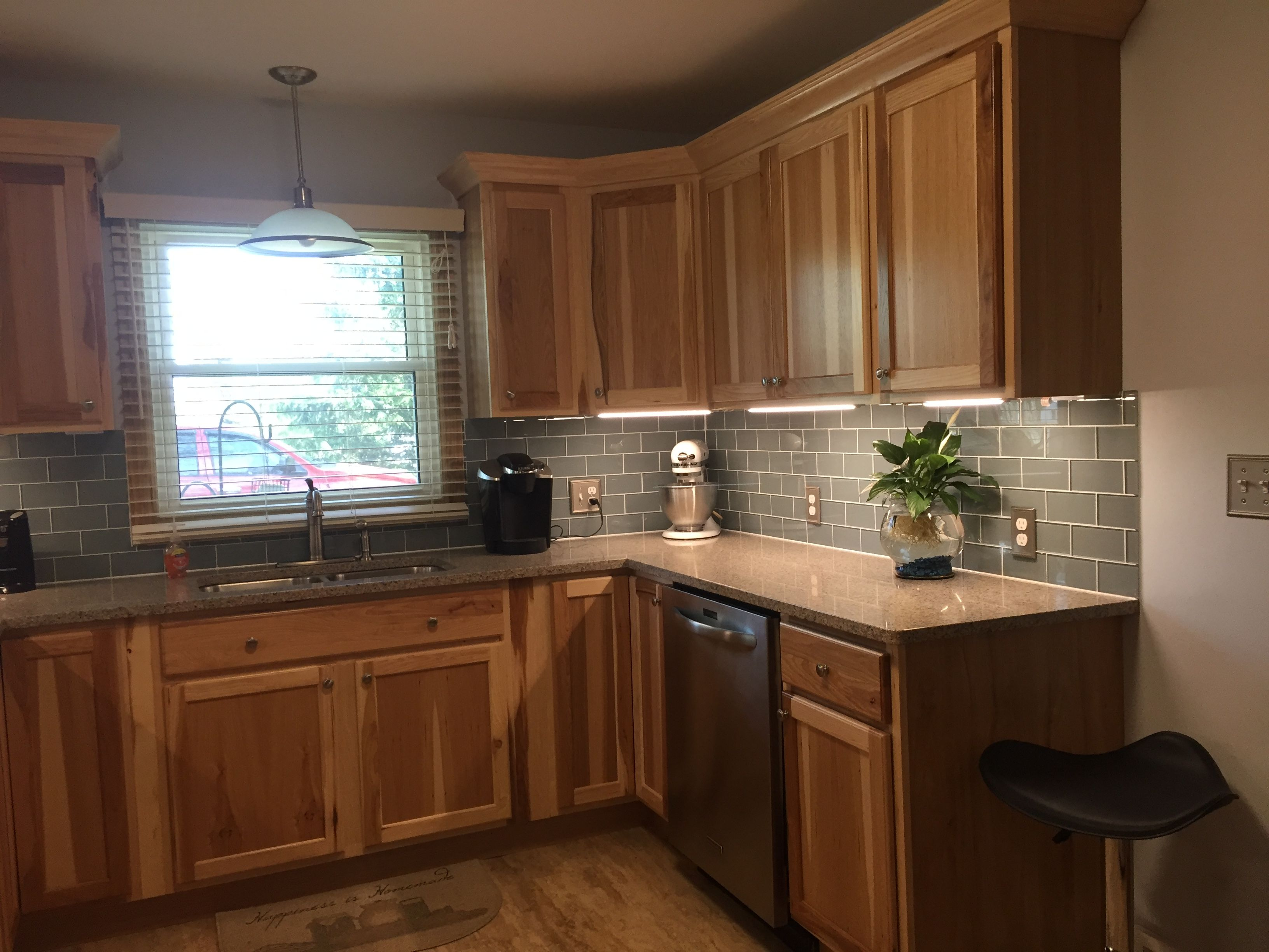 Kitchen Remodel With Hickory Cabinets Quartz Counter Top And Glass Backsplash Cheap Kitchen Remodel Inexpensive Kitchen Remodel Simple Kitchen Remodel