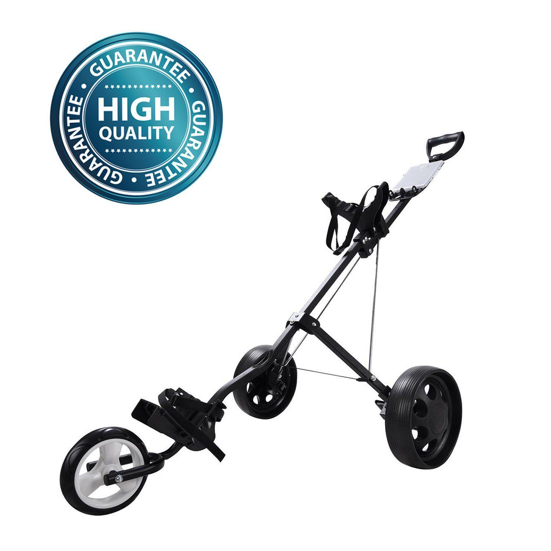 Koval Inc. 3 Wheel PushPull Folding Golf Cart Trolley