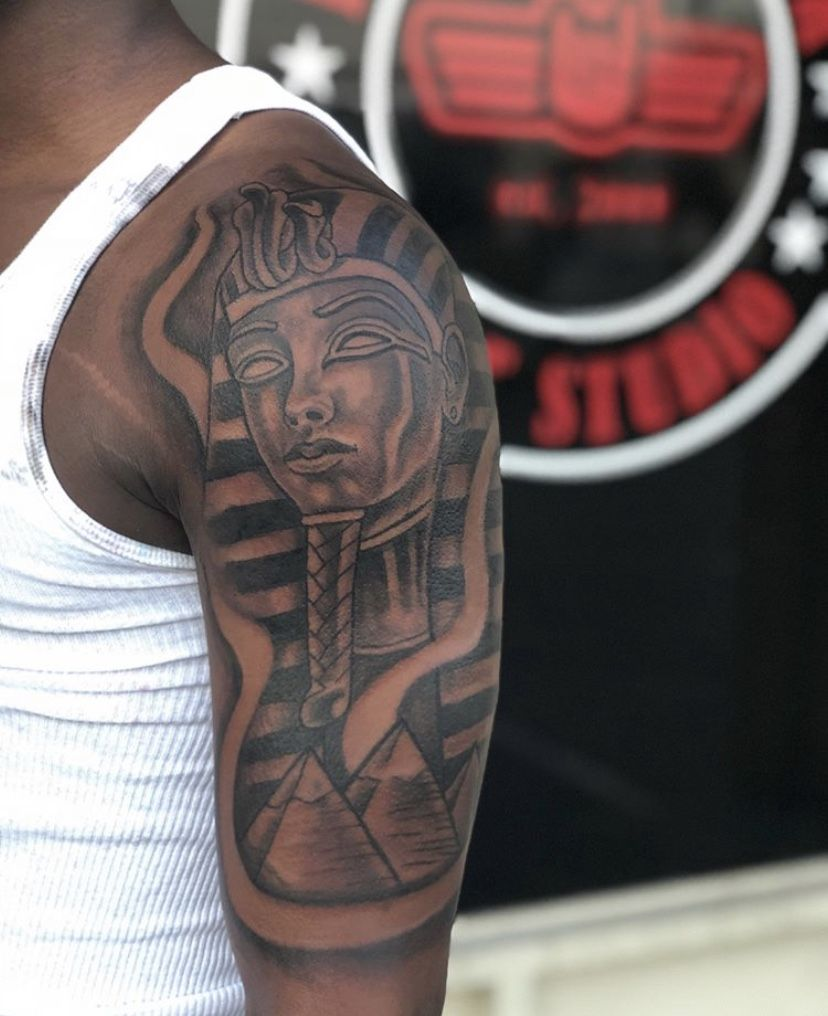 Pin By Gregory Whidby Jr On Guys With Tattoos Dark Skin Tattoo Arm Sleeve Tattoos Egyptian Tattoo