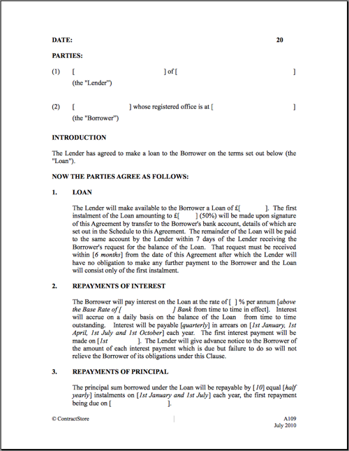Doc460595 Loan Agreement Between Two Individuals Loan – Contract Template Between Two Parties