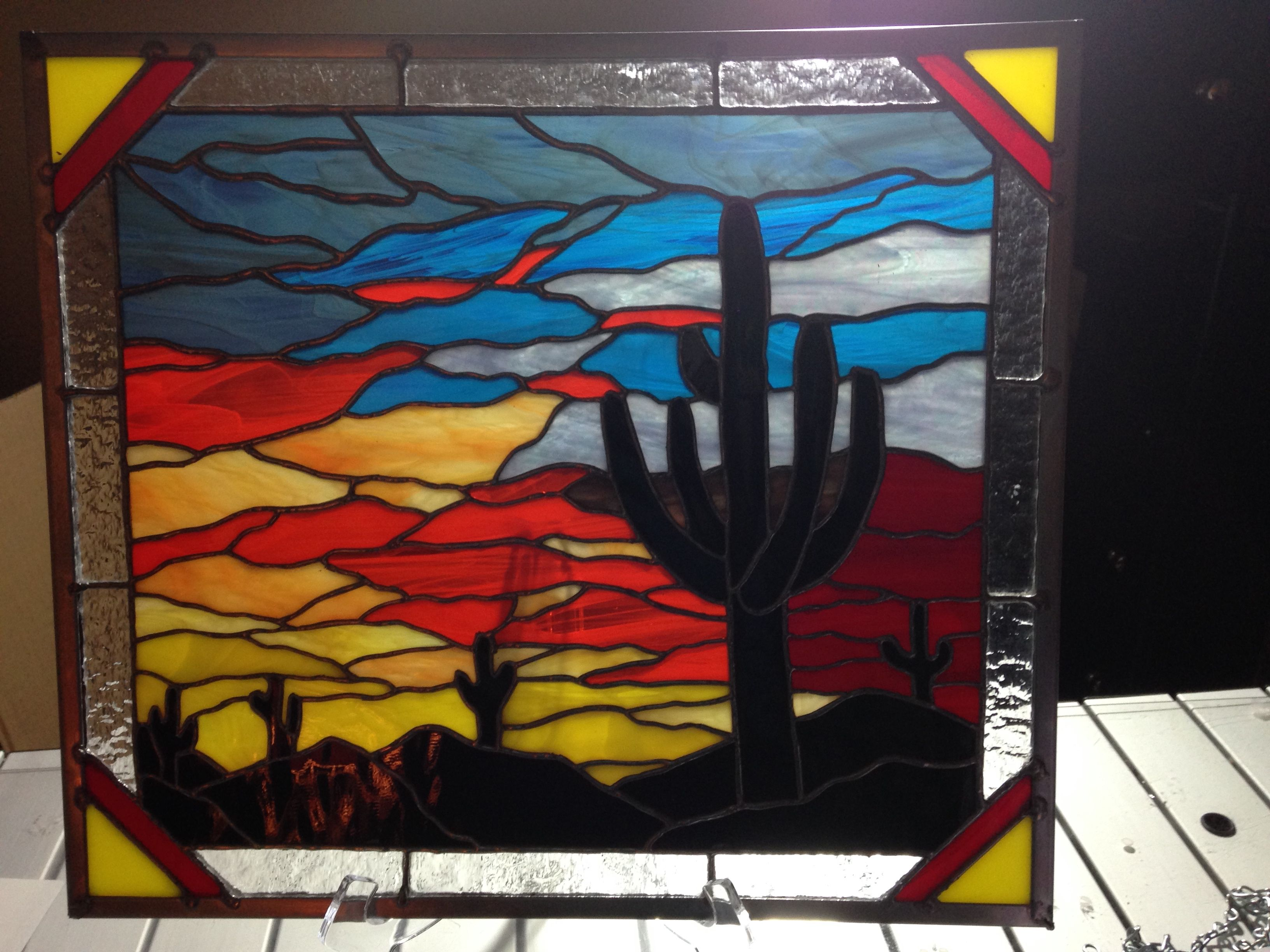 stained glass desert scene by Beth | Stained glass diy ...