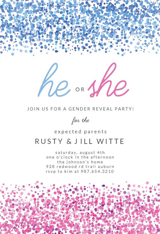 Blue Pink Dots Gender Reveal Invitation Template Free Greetings Island Gender Reveal Invitations Printable Gender Reveal Invitations Template Gender Reveal Invitations
