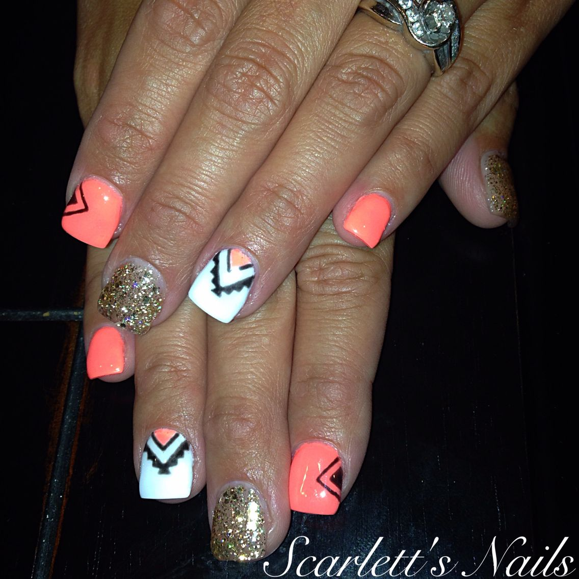 Neon pink gold glitter black and white tribal aztec summer gel nails ...