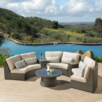 sidney 6 piece deep seating sectional set by mission hills the rh pinterest com mission hills patio furniture covers mission hills patio furniture cushions