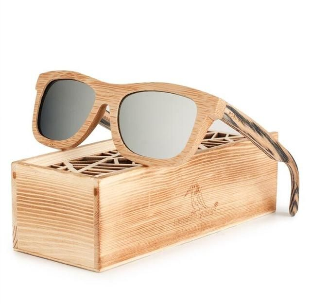 f8052607c9 Polarized Square Wood Frame Sunglasses In Wooden Gift Box-Green