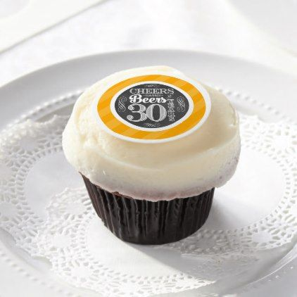Cheers and Beers to 30 Years Cupcake Toppers   Edi