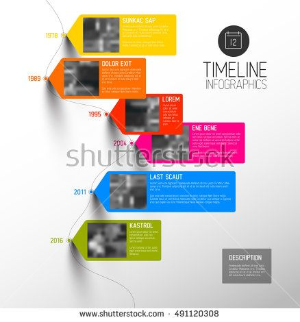 Vector colorful Infographic typographic timeline report template - advertising timeline template
