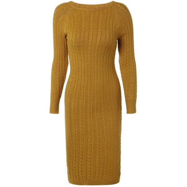 Long Sleeve Cable Knit Bodycon Sweater Dress (180 HRK) ❤ liked on ...