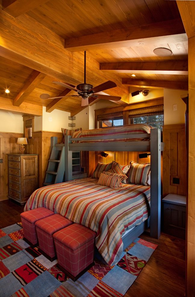 Innovative twin over queen bunk bed look other metro for Rustic kids room