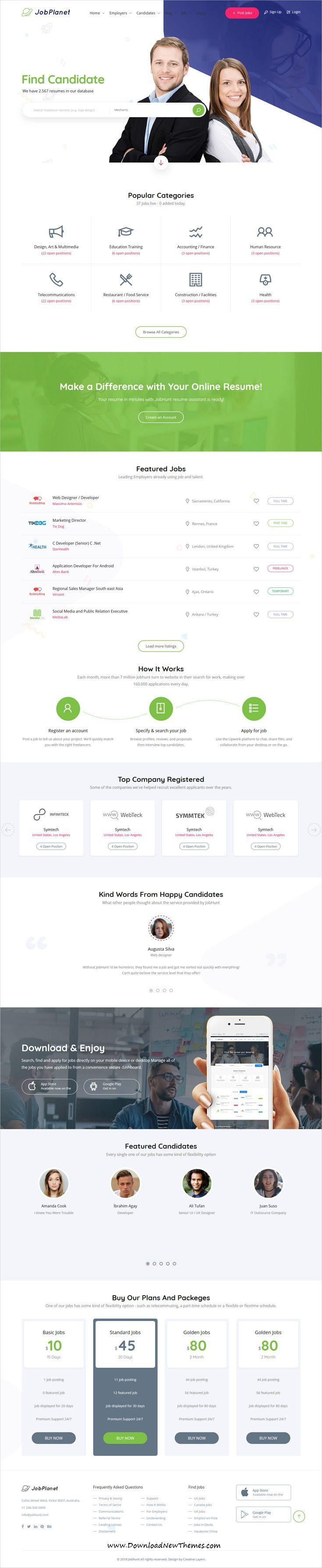 Jobhunt Job Board Html Template Html Templates Web Design Job Board