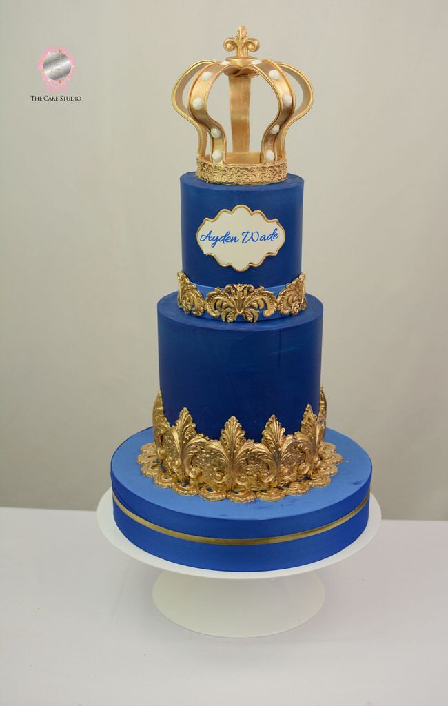 Blue And Gold Christening Cake Little Prince Cake Christening