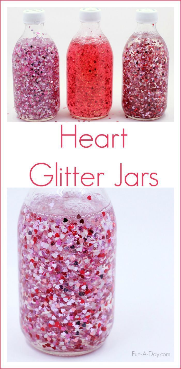 How to Make a Glitter Jar of Floating Hearts for Valentine's Day