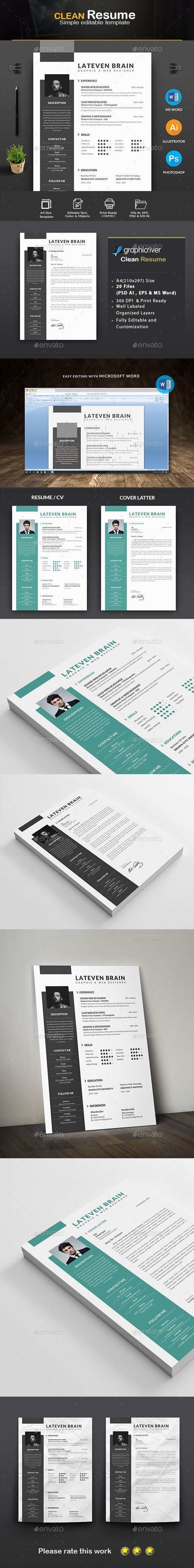 Resume Template PSD, Vector EPS, AI, DOC & DOCX | curriculum models ...