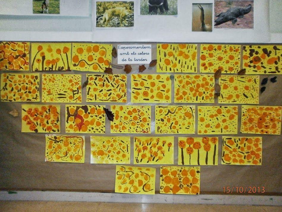 Mural amb les pintures fetes per nens i nenes de P4 experimentant amb els colors de la tardor.