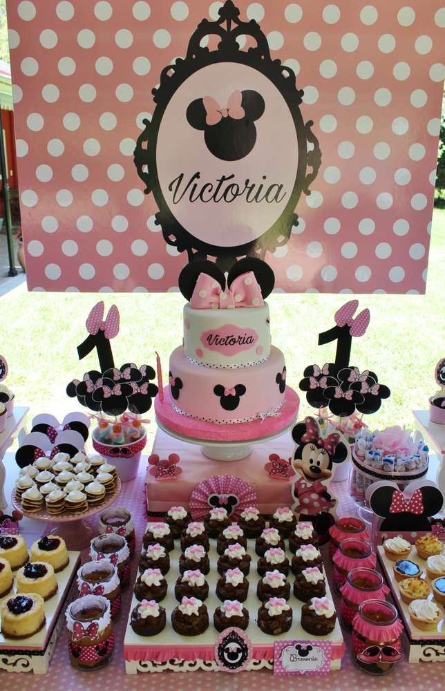 Minnie Mouse Birthday Party Ideas Photo 14 Of 15 Minnie Mouse 1st Birthday Minnie Mouse Birthday Party Minnie Mouse Birthday Theme