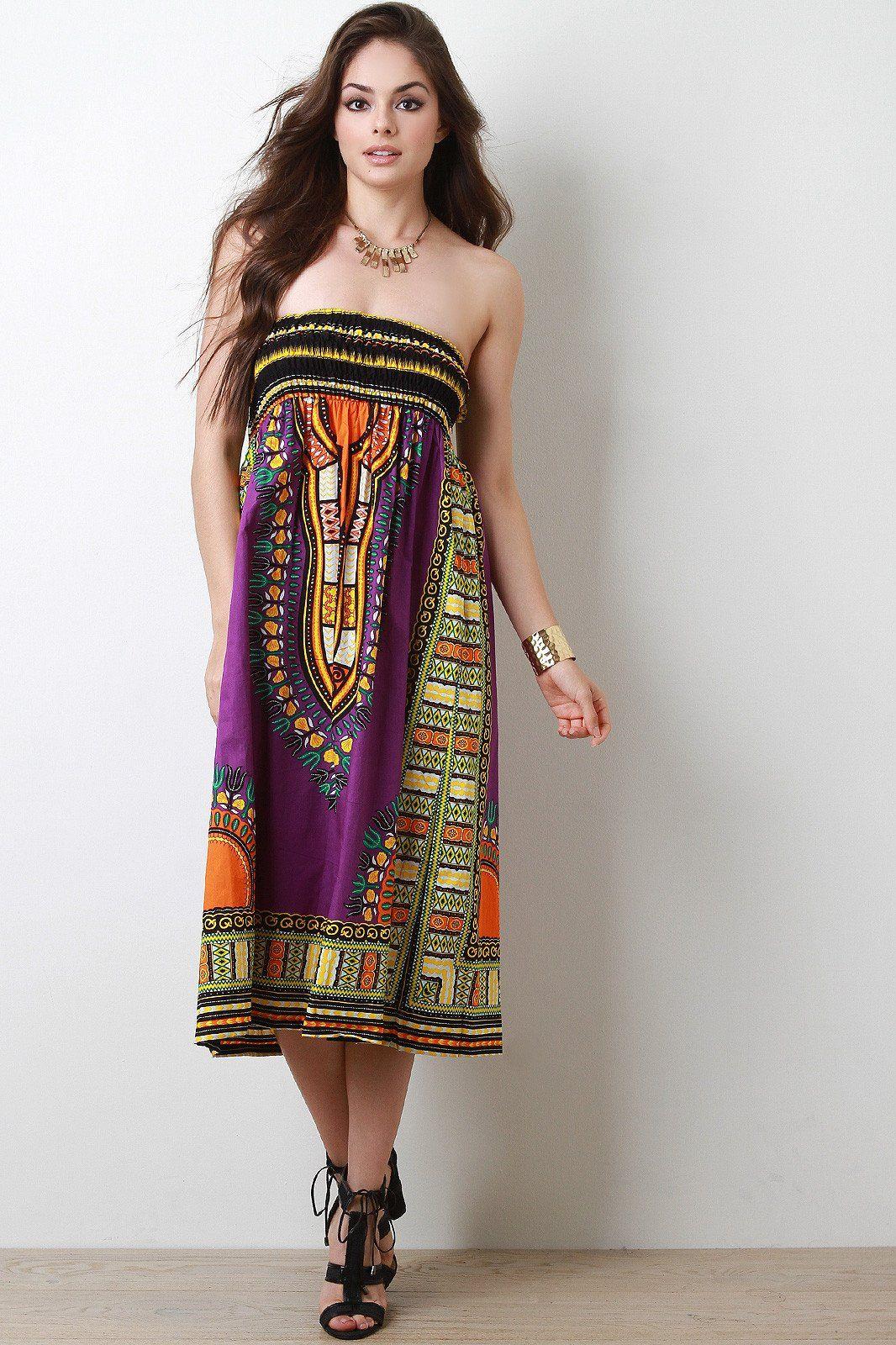 Empire dashiki print smock tube dress this strapless